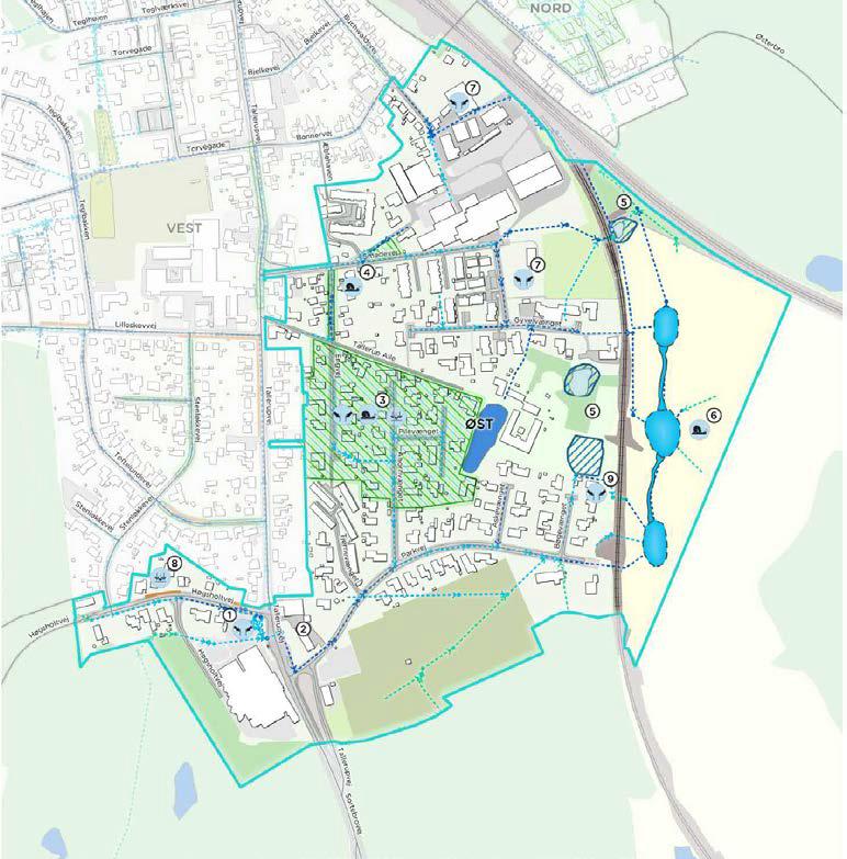 Delområde øst (regnvandsplan for Tommerup st.). Det trekantede areal øst for Assensbanen og syd for Vestfynsbanen planlægges rekreativt areal
